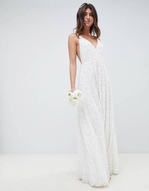 White Sequin V Neck Cami Bridal Gown