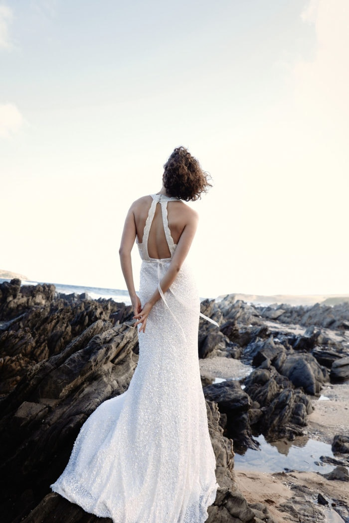 Strappy back sequin wedding dress Cindy