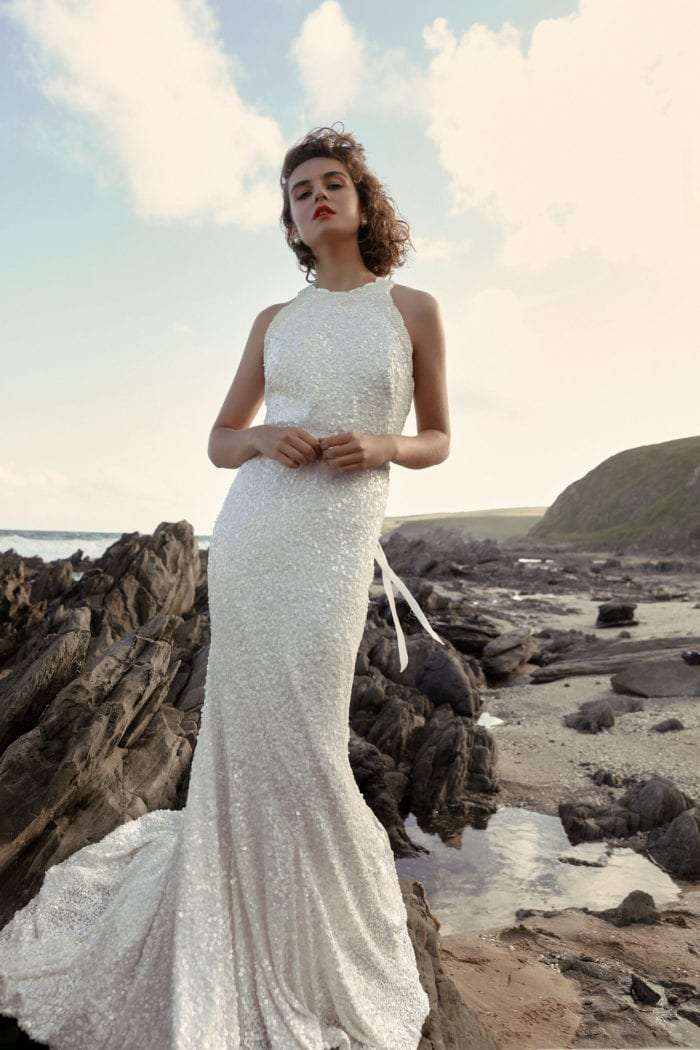 Halter tank neck bridal gown