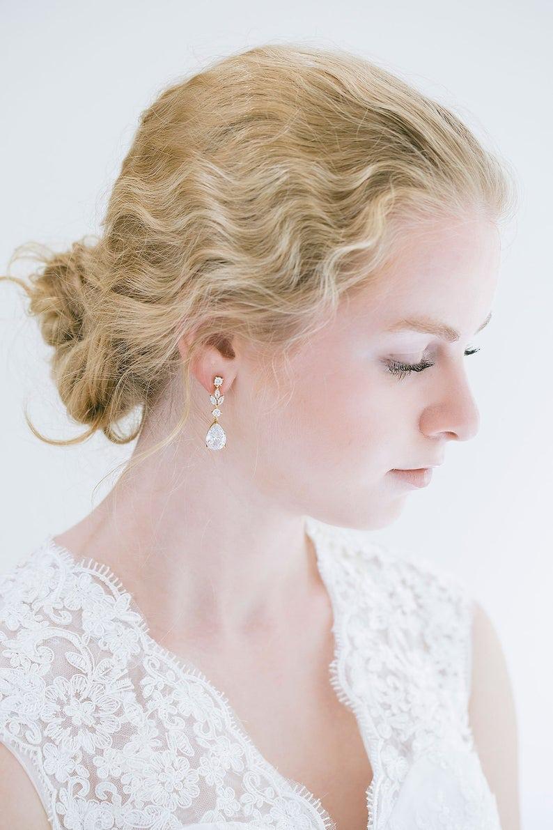 Crystal Drop Wedding Earrings with Leaf Detail