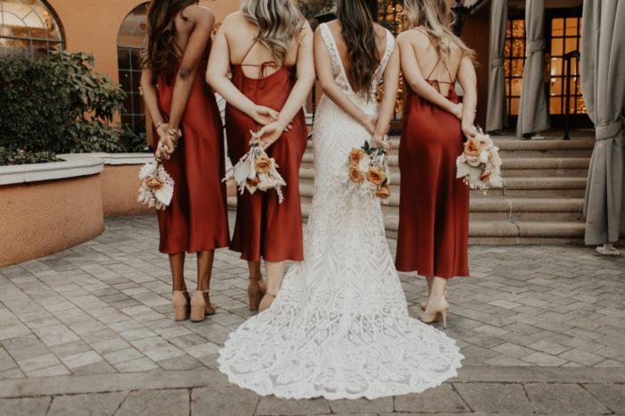 Auburn red satin bridesmaid dresses