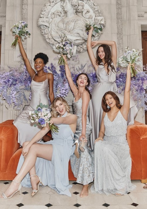 BHLDN gray and blue mix and match dresses