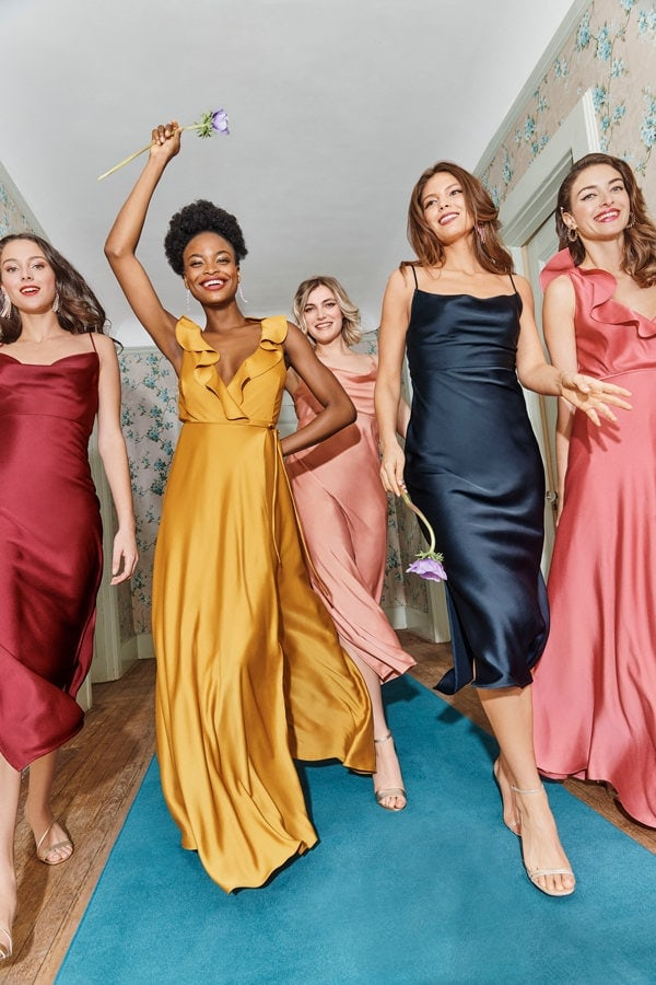 Jewel bridesmaid dresses in mix and match colors