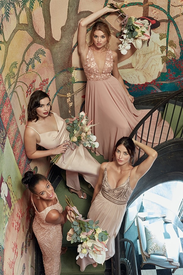 Blush and Champagne BHLDN bridesmaid dresses