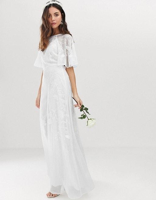 Affordable Flutter Sleeve Wedding Dress