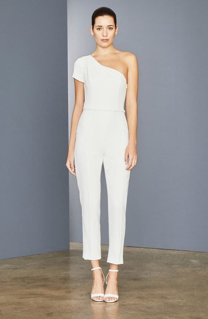One shoulder off white jumpsuit for weddings