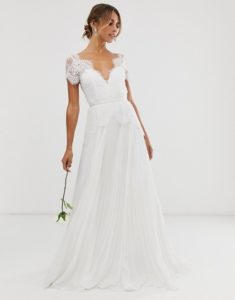 Lace bodice cap sleeve v neck ASOS wedding dress