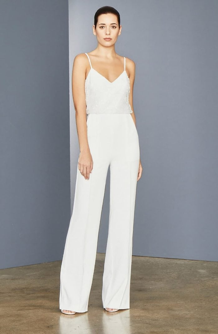Beaded top ivory jumpsuit for wedding
