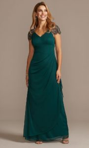 Dark green gown for Mother of the Bride