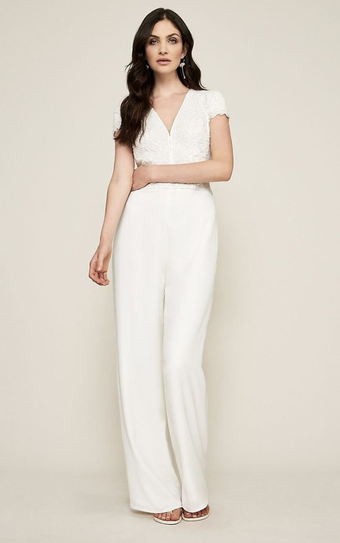 Short sleeve lace top ivory jumpsuit