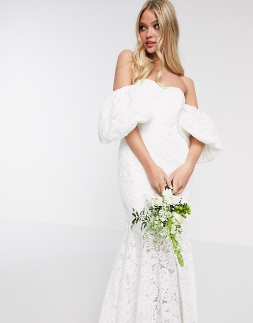 Off-the-Shoulder Lace Wedding Dress with Puff Sleeves