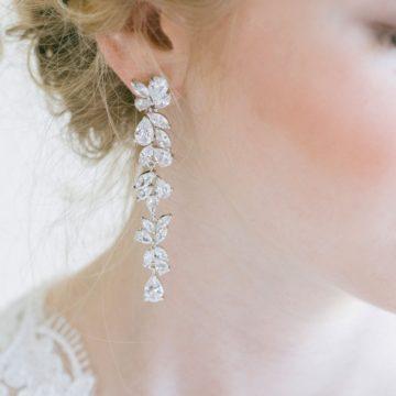 long dangling cz wedding earrings