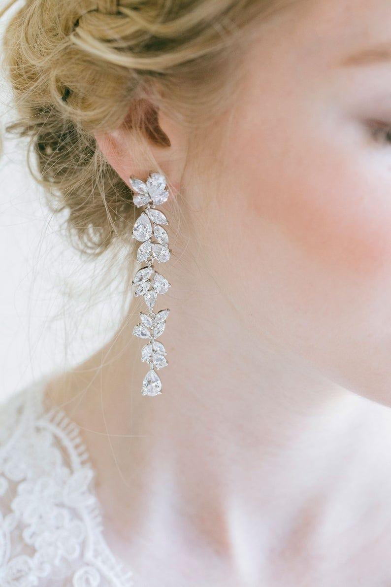 Long Drop CZ Wedding Earrings