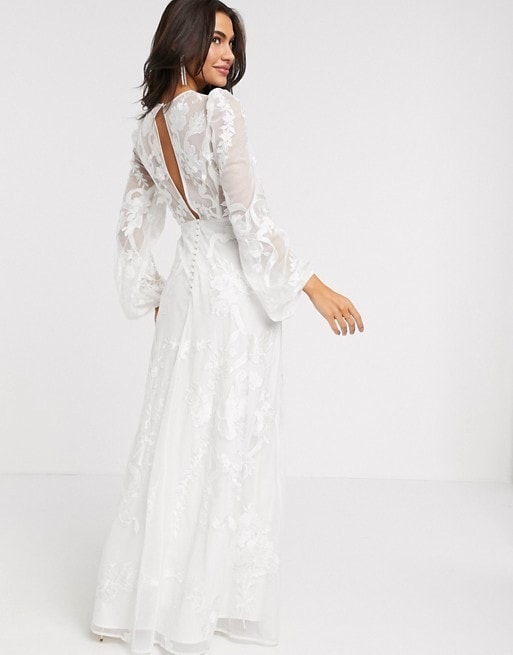 Embroidered Wedding Dress with Long Blouson Sleeves