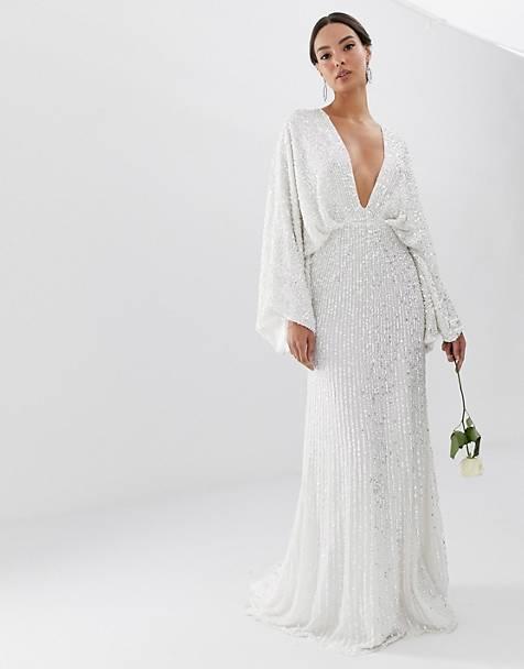 Kimono Sleeve Sequin Wedding Dress with Plunging Neckline
