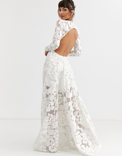Affordable Long Sleeve Floral Wedding Dress with Open Back
