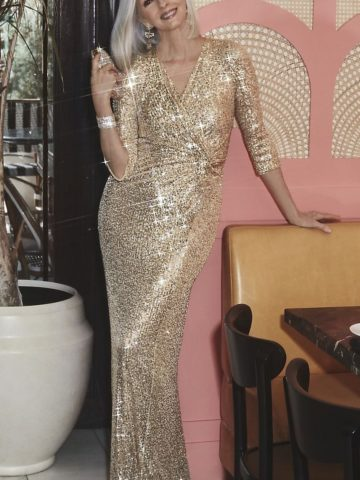 Gold sequin mother of the bride dress