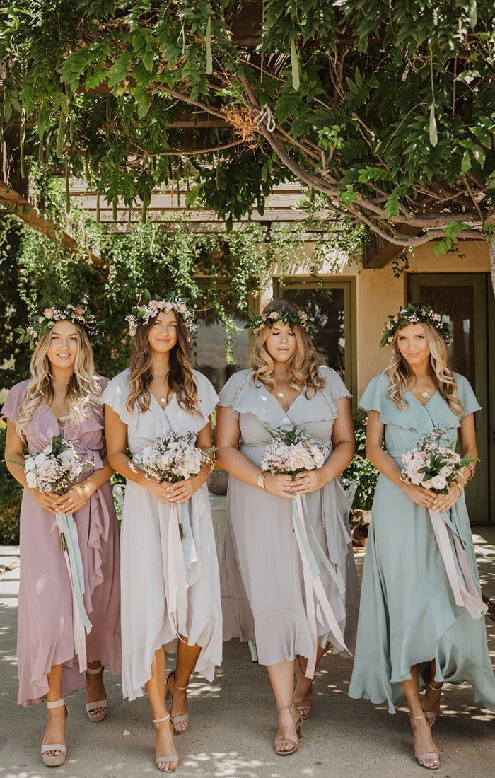 Pastel mix and match dresses for bridesmaids