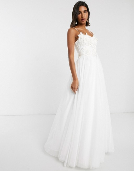 Spaghetti Strap Tulle Wedding Dress with Floral Bodice