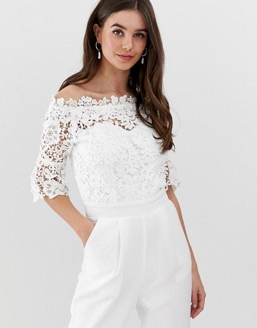White lace off the shoulder bridal jumpsuit