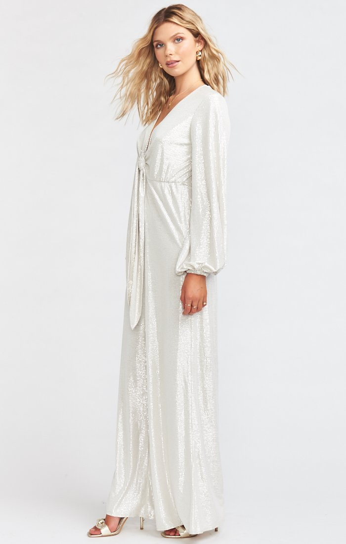Long sleeve white jumpsuit for a woman