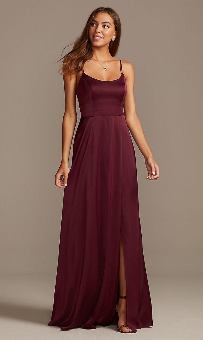 Crepe-Back Satin Spaghetti Strap Bridesmaid Dress
