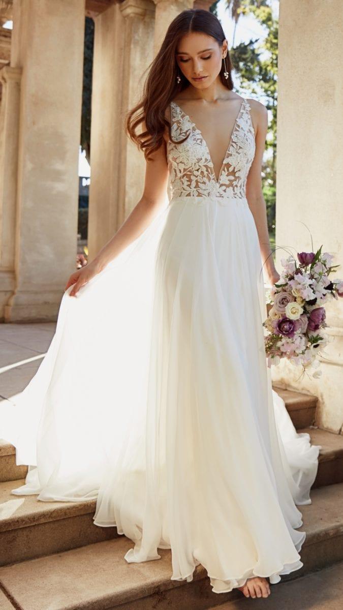 Alouette Bridal Gown | Lace Bodice V Neck Wedding Dress