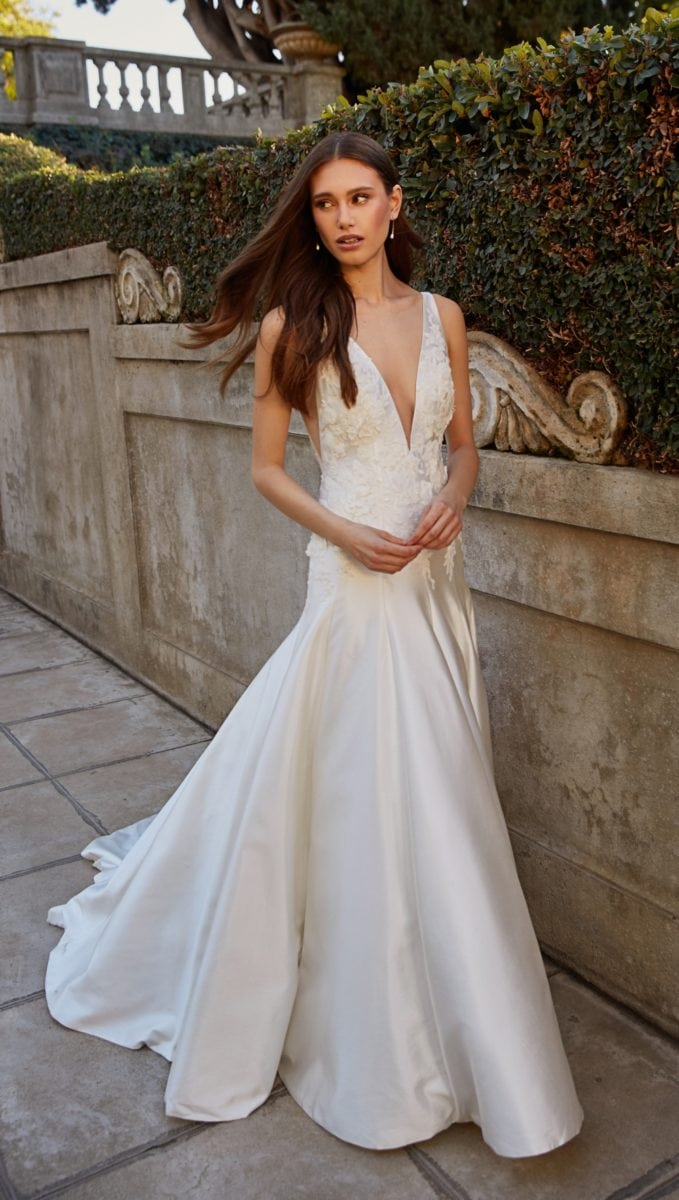 Fit and flare drop waist wedding dress