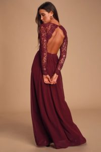 Burgundy lace long sleeve maxi dress for a wedding