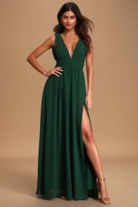 Dark Green Plunge Neck Maxi Dress