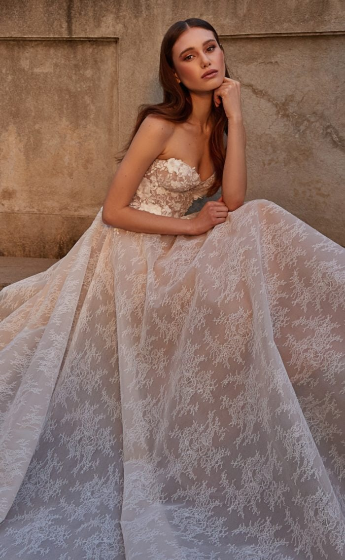Lace strapless wedding dress with sweetheart neckline