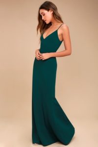 Dark green maxi dress with spaghetti straps for a wedding