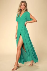 Kelly green wrap maxi dress