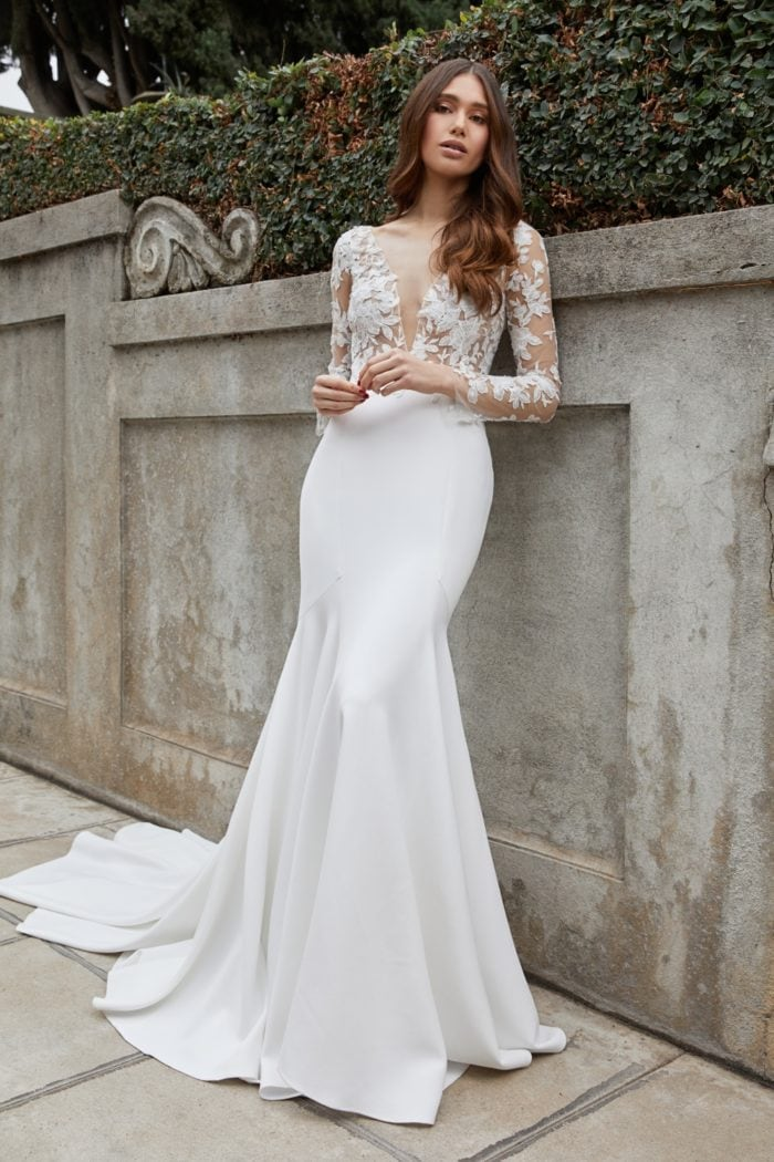 Long sleeve bridal gown with illusion v neck plunge