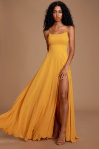 Mustard Gown with Spaghetti Straps
