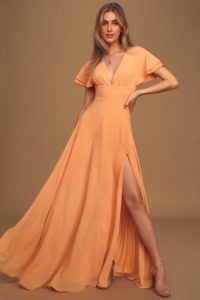 Peach Flutter Sleeve V Neck Maxi Dress