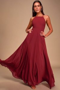 Wine Red Maxi Dress for a Wedding