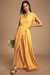 Yellow maxi wrap dress