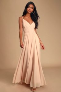 blush pink maxi dress with pleated bodice for a wedding