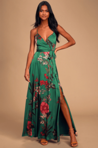 Green floral wrap dress with spaghetti straps