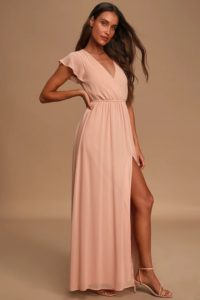 Short sleeve blush surplice maxi dress