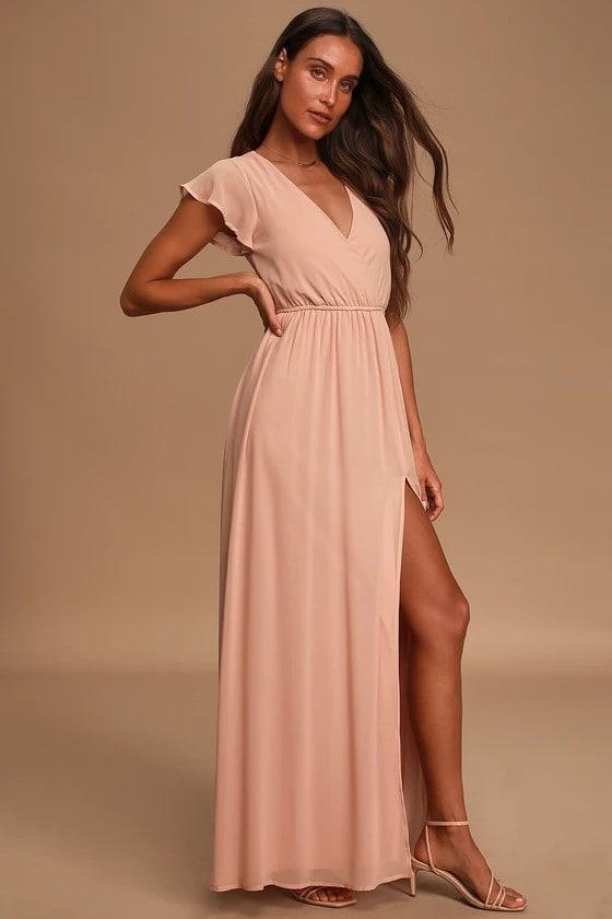 Short sleeve blush surplice maxi dress