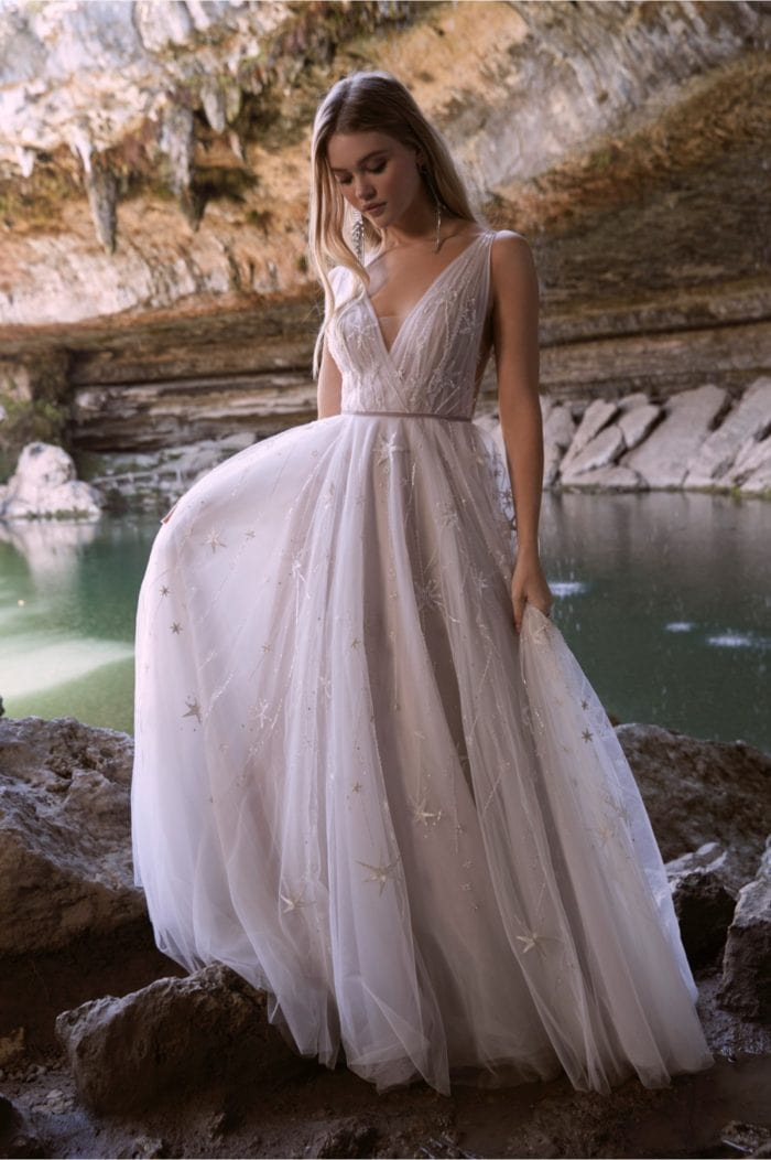 Romantic v neck sparkle wedding dress Willowby