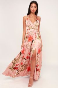 Floral print pink satin maxi dress with spaghetti straps