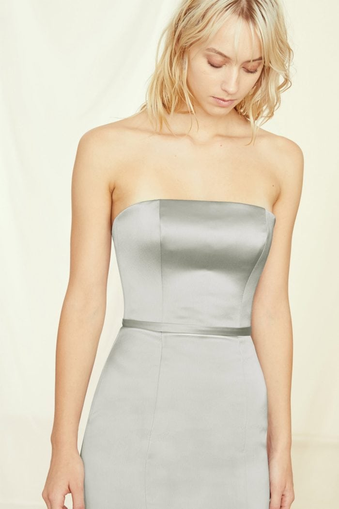 Marisa a strapless satin bridesmaid dress by Amsale