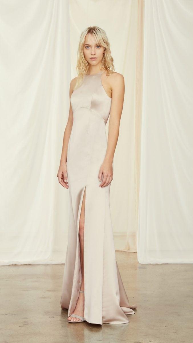 High neck satin bridesmaid dress