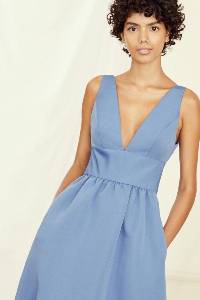 V neck Blue Bridesmaid Dress |Bobbi Gown by Amsale
