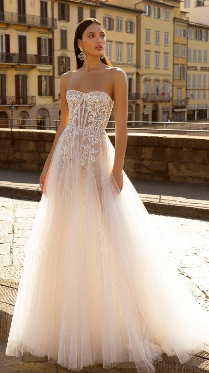Tulle strapless wedding dress with embellished bodice