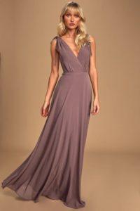 Dusty purple maxi dress for a wedding