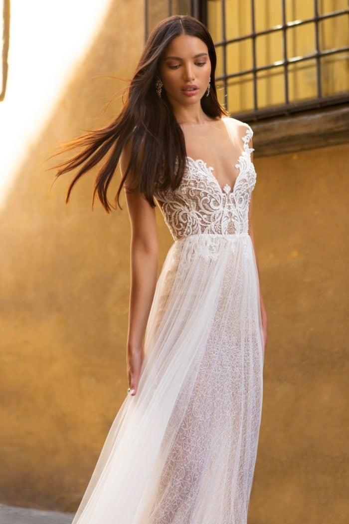Fabienne Cap Sleeve Sheer lace plunge neckline bridal gown